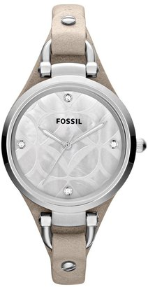 Fossil 'Georgia' Leather Strap Watch, 32mm