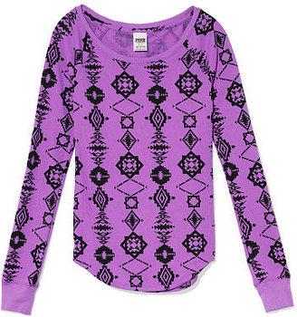 Victoria's Secret PINK Print Thermal Sleep Raglan Tee