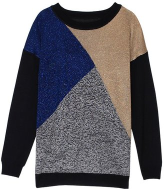 Tibi Lurex Merino Intarsia Sweater