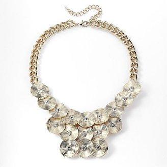 Vera Wang Simply vera gold tone simulated crystal disc link bib necklace