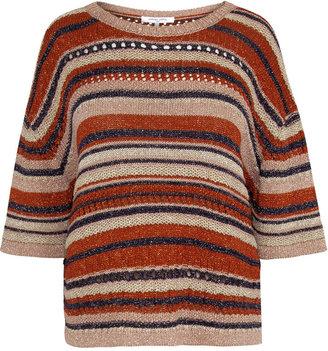 Gerard Darel Eleana - Short Sleeve Multi-colored Knit And Lurex Sweater