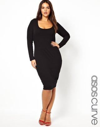 Asos Midi Body-Conscious Dress With Long Sleeve