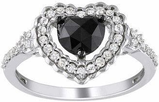 Black Diamond MODERN BRIDE Midnight 1 CT. T.W. Black & White Diamond Heart Ring In 10K White Gold