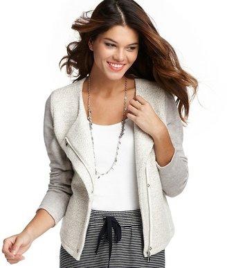 LOFT Cotton Terry Asymmetrical Zip Jacket