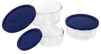 Pyrex Storage 6010170 Round Set 6pc, Clear w/ Blue Lids