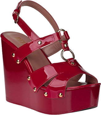RED Valentino Slingback Wedge Sandal Black Cherry Patent