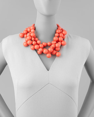 Kenneth Jay Lane Beaded Cluster Necklace, Coral