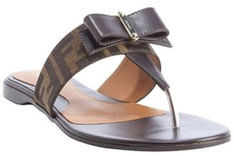 Fendi tobacco zucca canvas and leather bow detail sandals