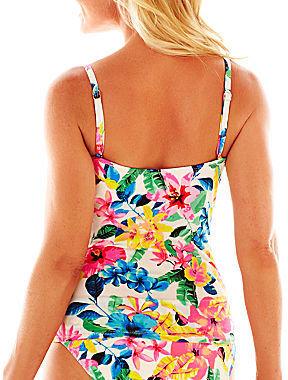 JCPenney Ocean Avenue Floral Print Twist-Front Bandeaukini Swim Top