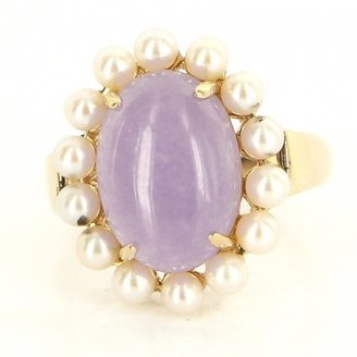 very good (VG) Estate 14 Karat Yellow Gold Lavender Jade Pearl Cocktail Ring