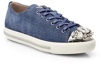 Miu Miu Denim Crystal-Toe Lace-Up Sneakers