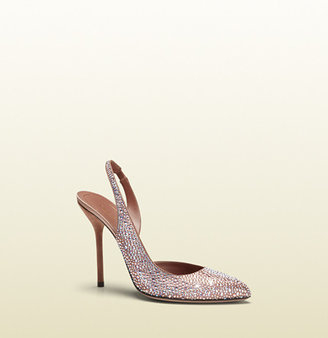 Gucci Pink Crystal D'orsay High-Heel Sling-Back