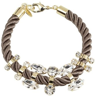 Noir Jaipur Cord and Crystal Bracelet