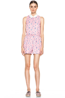 Band Of Outsiders Elise Silk Romper in Cameo Pink