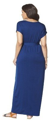 Women's Plus Size Short Sleeve V Neck Maxi Dress