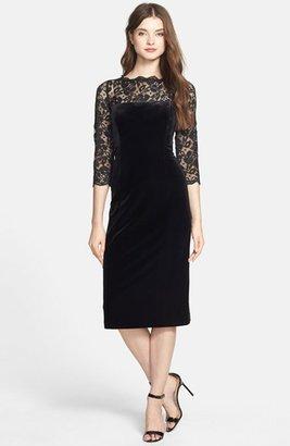 Women's Eliza J Lace & Velvet Sheath Dress $138 thestylecure.com