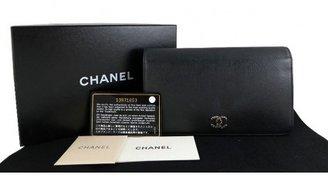 Chanel very good (VG Black Caviar Seruvga Wallet Silver CC purse