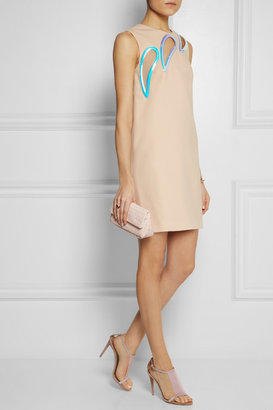 Christopher Kane Iridescent PVC-trimmed wool-crepe mini dress