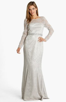 JS Collections Lace Overlay Mermaid Gown