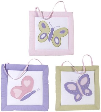 JoJo Designs Pink and Purple Butterfly Wall Hangings - Set of 3