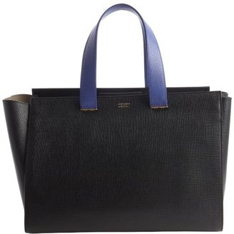 Armani black leather and indigo top handle tote