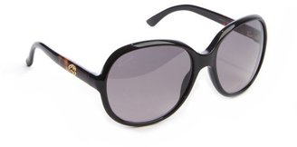 Gucci black and taupe acrylic round sunglasses