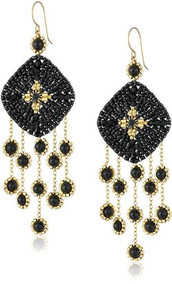 Miguel Ases 14k Gold-Filled Onyx Drop Earrings