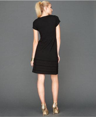 INC International Concepts Dress, Cap-Sleeve Pintuck-Pleated A-Line