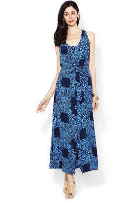Sunner Silk Button Front Maxi Dress