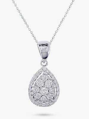 EWA 18ct White Gold Pear Cut Diamond Cluster Pendant Necklace, White Gold