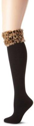 Betsey Johnson Women's Furry Fleece Lined Knee Sock