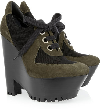 Burberry Suede and canvas lace-up platform pumps