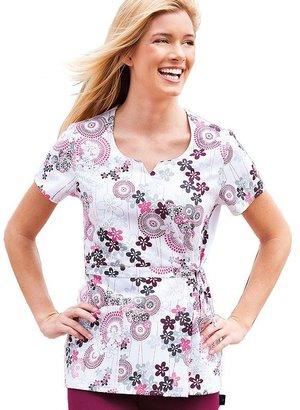 Jockey scrubs floral faux-wrap top