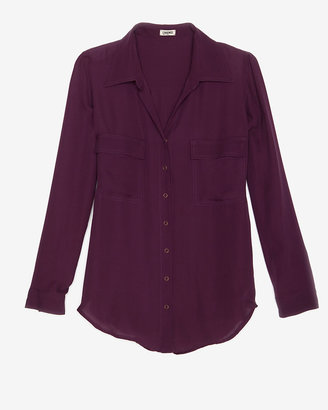 L'Agence Oversize Silk Snap Button Blouse