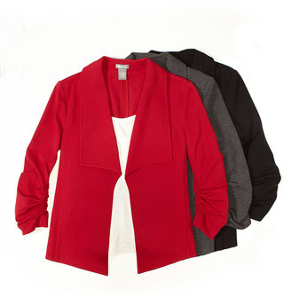 Neiman Marcus Ruched-Sleeve Drape Jacket, Red