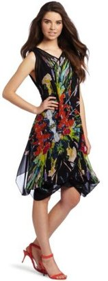 Nicole Miller Women's Paint Reflections V-Neck Dress