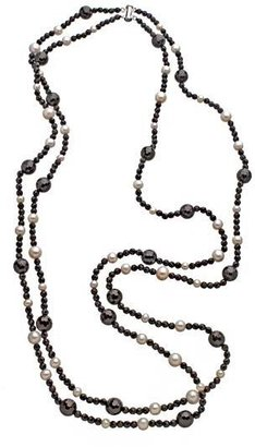 M Pearl Double Layer Black Onyx Pearl Necklace
