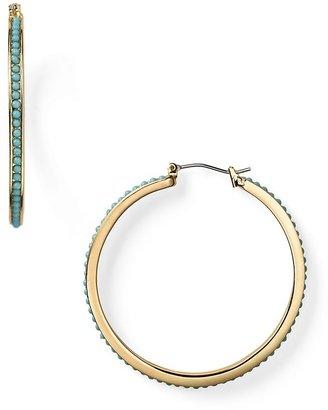 Lauren Ralph Lauren Gold and Turquoise Hoop Earrings