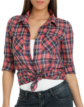 Wet Seal WetSeal Plaid Cotton Button Shirt Navy