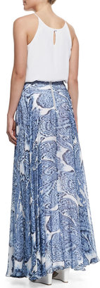 Milly Watercolor Paisley-Print Maxi Skirt