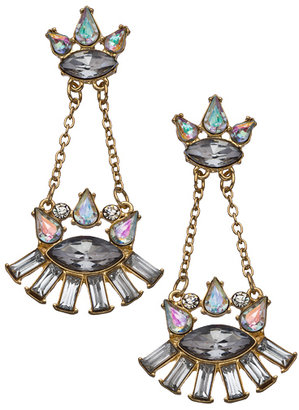 Blu Bijoux Grey and Opalescent Crystal and Chain Chandelier Earrings