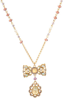Betsey Johnson Bow Necklace With Tear Drop