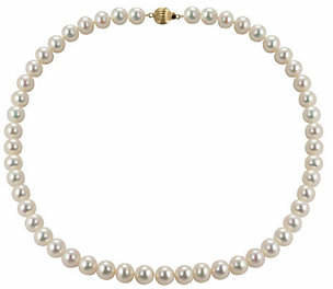 "Honora Cultured Pearl 8.0mm Semi-Round 18"" Neck"