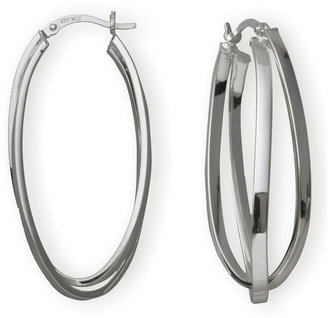 JCPenney FINE JEWELRY Silver Hoop Earrings, Double Hoop Criss-Cross