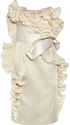 Lanvin - Ruffled Satin Dress - Off-white $5,790 thestylecure.com