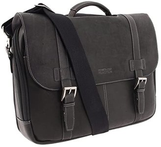Kenneth Cole Reaction Colombian Leather - Flapover Portfolio/Computer Case (Black) Computer Bags