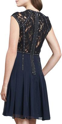 Rebecca Taylor Stud-Trim Lace-Back Cocktail Dress