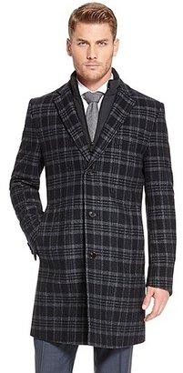 HUGO BOSS Logan Virgin Wool Blend Overcoat - Dark Blue