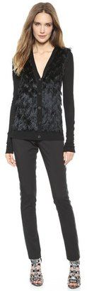Vera Wang Collection Fringed Front Cardigan