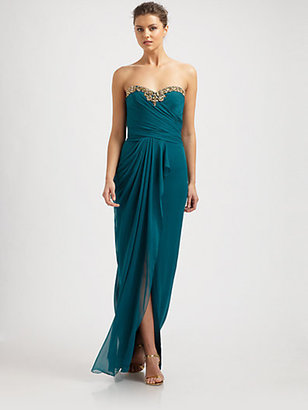 Notte by Marchesa Silk Beaded-Neck Draped Gown